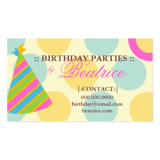 311-BIRTHDAY PARTY PLANNER PINK BUSINESS CARD