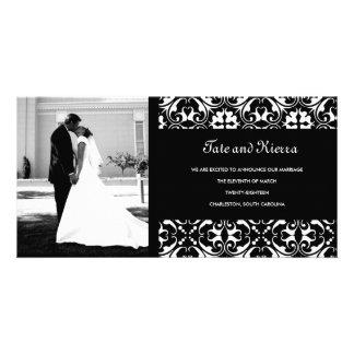 311-BLACK DAMASK WEDDING PHOTO CARD
