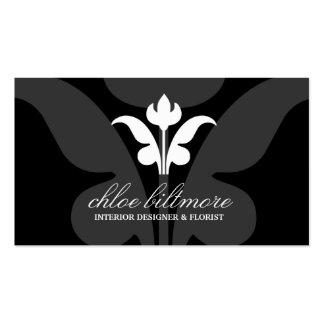 311-Black Floral Flare Business Card