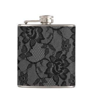 311 Black & Gray Lace Girly Flask