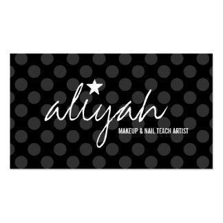311 Black Star Polka Dots Appointment Card Business Card Template