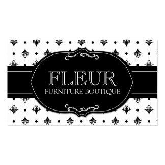 311 Black White Dotted Fleur Di Lis Business Card