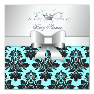 311-Blackberry Blue Damask Bow | Baby Shower 5.25x5.25 Square Paper Invitation Card