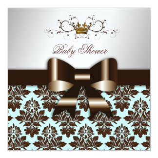 311 Blackberry Brown Damask Blue Brown 5.25x5.25 Square Paper Invitation Card