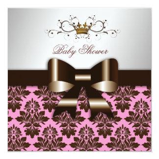 311 Blackberry Brown Damask Pink | Baby Card