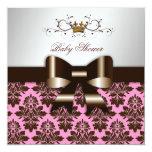 311 Blackberry Brown Damask Pink | Baby Custom Invites
