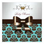 "311 Blackberry Brown Damask Rose Turquoise 5.25"" Square Invitation Card"