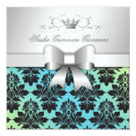 311-Blackberry Damask Bow  Turquoise Lime Sweet 16 5.25x5.25 Square Paper Invitation Card