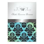 311-Blackberry Damask Ribbon  Turquoise Lime 5x7 Paper Invitation Card