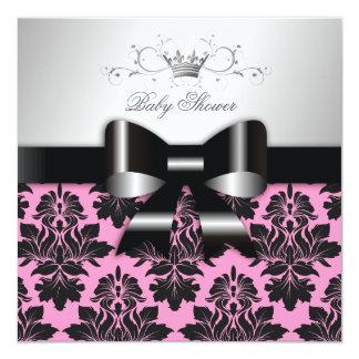 311-Blackberry Pink Damask Black Bow | Baby Shower Card