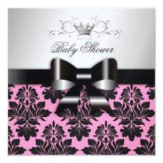 311 Blackberry Pink Damask Black Bow | Baby Shower Card