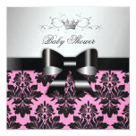 311 Blackberry Pink Damask Black Bow | Baby Shower Personalized Invite