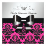 311-Blackberry Pink Damask Black Bow | Sweet 16 5.25x5.25 Square Paper Invitation Card