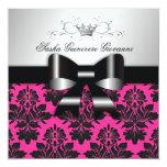 311-Blackberry Pink Damask Black Bow | Sweet 16 Invitation