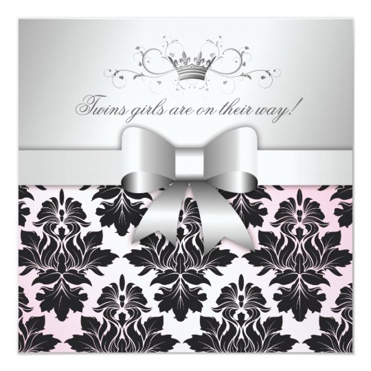311-Blackberry Precious Pink Damask | Baby Shower Card