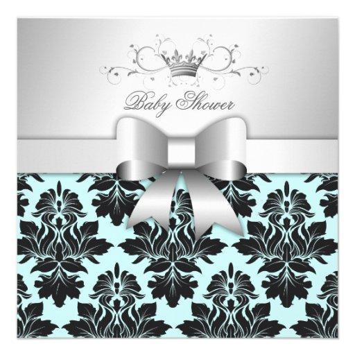 311-Blackberry Sweet Blue Damask Bow   Baby Shower Invite