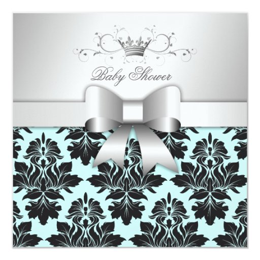 "311-Blackberry Sweet Blue Damask Bow | Baby Shower 5.25"" Square Invitation Card"