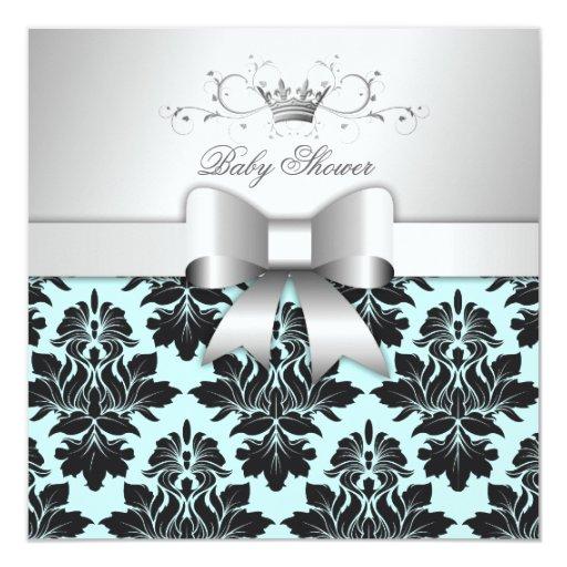 311-Blackberry Sweet Blue Damask Bow | Baby Shower Invitation