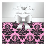 311-Blackberry Sweet Pink Damask Bow | Baby Shower 5.25x5.25 Square Paper Invitation Card