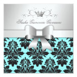 311-Blackberry Turquoise Damask Bow | Sweet 16 Card