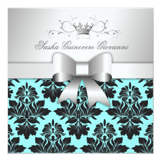 311-Blackberry Turquoise Damask Bow   Sweet 16 5.25x5.25 Square Paper Invitation Card