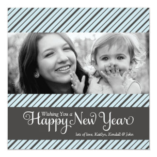 311 Blue & Gray Diagonal Striped New Year Announcements