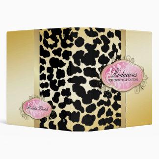 311 Bodacious Boutique Golden Leopard Spots 3 Ring Binders