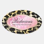 311 Bodacious Boutique Golden leopard Spots Oval Sticker