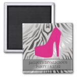 311-Bombshell Silhouette Zebra Hot Pink Heel 2 Inch Square Magnet