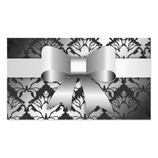 311-Bow-licious Charcoal Damask Business Card