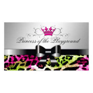311 Bow-licious Hot Lime Pink Leopard Business Card
