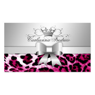 311 Bow-licious Hot Pink Leopard Business Cards