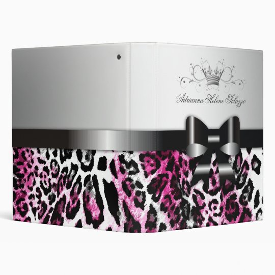 311-Bow-licious Pink Black Leopard 3 Ring Binder