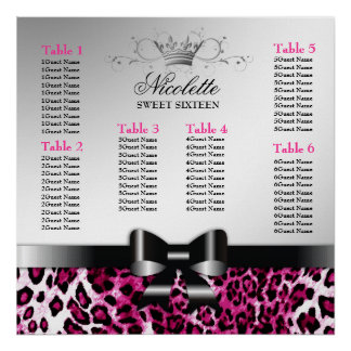 311 Bowlicious Hot Pink Leopard Seating Chart Poster