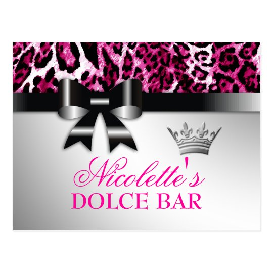 311 Bowlicious Hot Pink Leopard Table Card