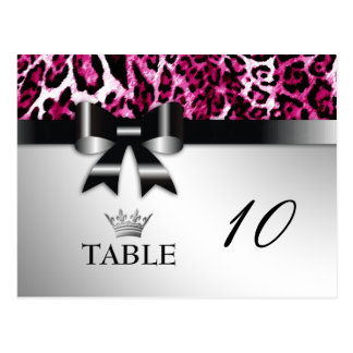 311 Bowlicious Hot Pink Leopard Table Card Post Card