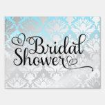 311 Bridal Shower Aqua Damask Lawn Signs