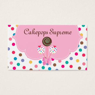 311 Cake Pops Business Card Polka Dots Pink Mint