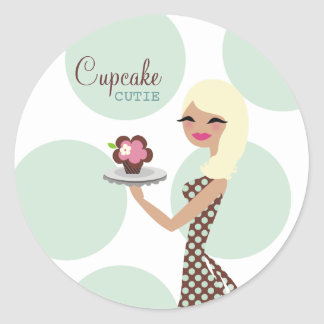 311-Candie Cupcake Cutie_Turquoise Classic Round Sticker