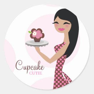 311-Candie the Cupcake Cutie Black Straight Hair Classic Round Sticker