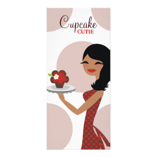 311 Candie the Cupcake Cutie Ethnic Red Brown Rack Card Template