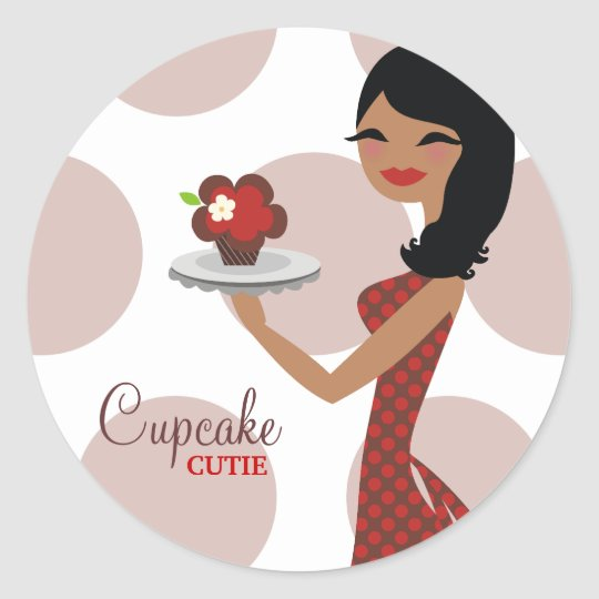 311-Candie the Cupcake Cutie Red Brown Sticker
