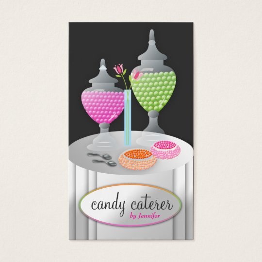 311-Candy Caterer   Charcoal Business Card