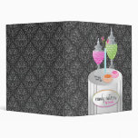 311-Candy Caterer | Gray Damask 3 Ring Binder