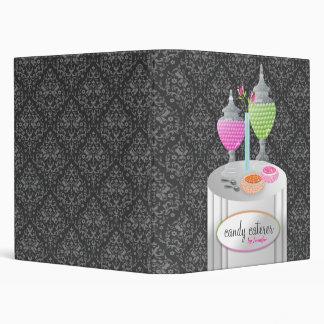 311-Candy Caterer | Gray Damask 3 Ring Binder