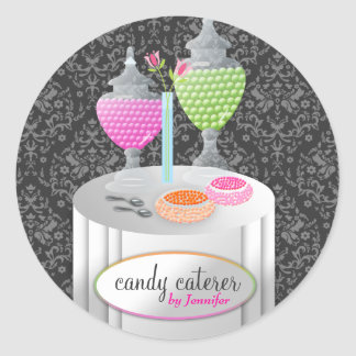 311-Candy Caterer | Gray Damask Classic Round Sticker
