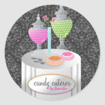 311-Candy Caterer   Gray Damask Stickers