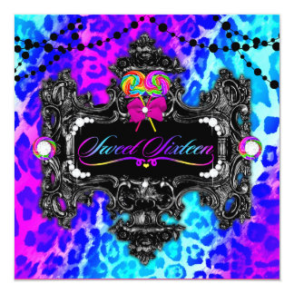311 Candy Wonderland Leopard Sweet 16 Personalized Invitations