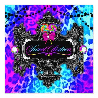 311 Candy Wonderland Leopard Sweet 16 5.25x5.25 Square Paper Invitation Card