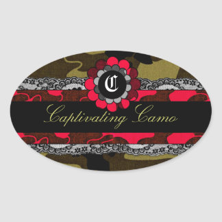 311 Captivating Camo Racy Red Oval Sticker